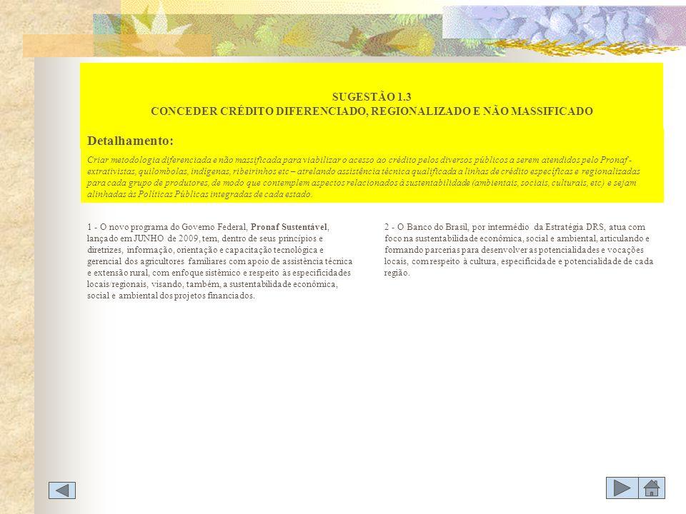 SUGESTÃO 1.3 CONCEDER CRÉDITO DIFERENCIADO, REGIONALIZADO E NÃO MASSIFICADO 1 - O novo programa do Governo Federal, Pronaf Sustentável, lançado em JUN