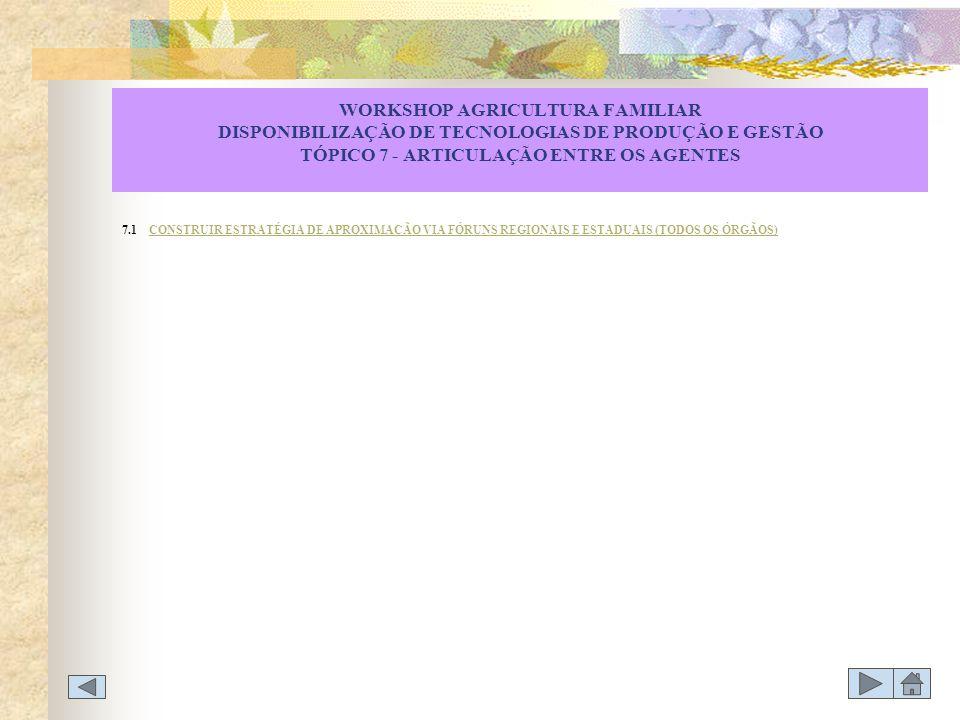 WORKSHOP AGRICULTURA FAMILIAR DISPONIBILIZAÇÃO DE TECNOLOGIAS DE PRODUÇÃO E GESTÃO TÓPICO 7 - ARTICULAÇÃO ENTRE OS AGENTES 7.1 CONSTRUIR ESTRATÉGIA DE