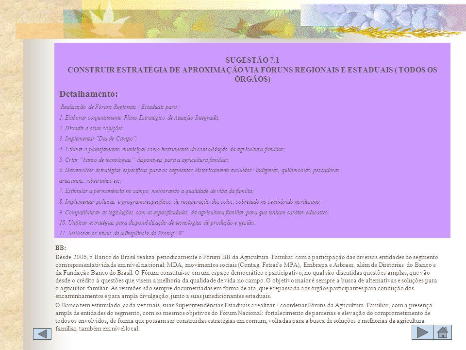 BB: Desde 2006, o Banco do Brasil realiza periodicamente o Fórum BB da Agricultura Familiar com a participação das diversas entidades do segmento com