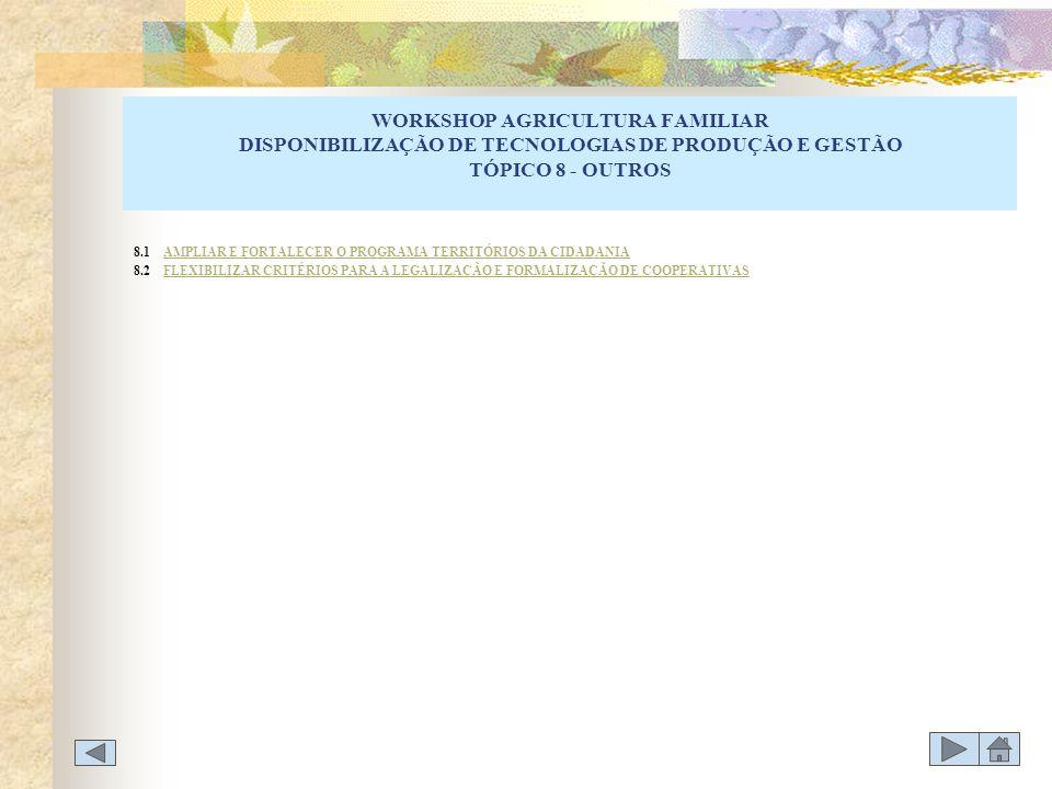WORKSHOP AGRICULTURA FAMILIAR DISPONIBILIZAÇÃO DE TECNOLOGIAS DE PRODUÇÃO E GESTÃO TÓPICO 8 - OUTROS 8.1 AMPLIAR E FORTALECER O PROGRAMA TERRITÓRIOS D