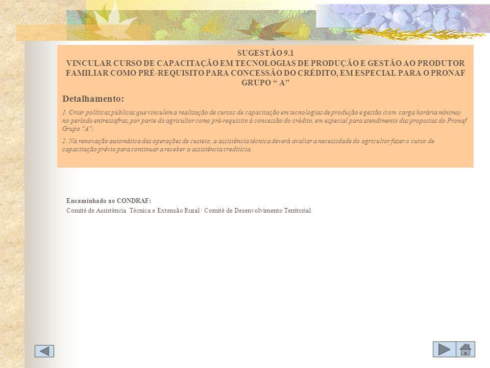 Encaminhado ao CONDRAF: Comitê de Assistência Técnica e Extensão Rural / Comitê de Desenvolvimento Territorial SUGESTÃO 9.1 VINCULAR CURSO DE CAPACITA