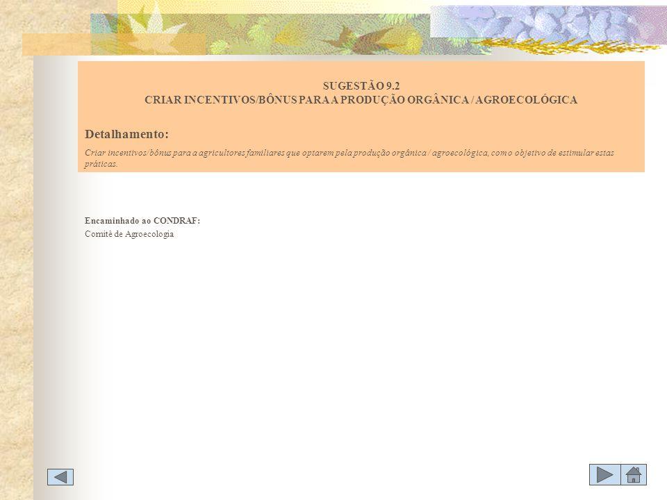 Encaminhado ao CONDRAF: Comitê de Agroecologia SUGESTÃO 9.2 CRIAR INCENTIVOS/BÔNUS PARA A PRODUÇÃO ORGÂNICA / AGROECOLÓGICA Detalhamento: Criar incent