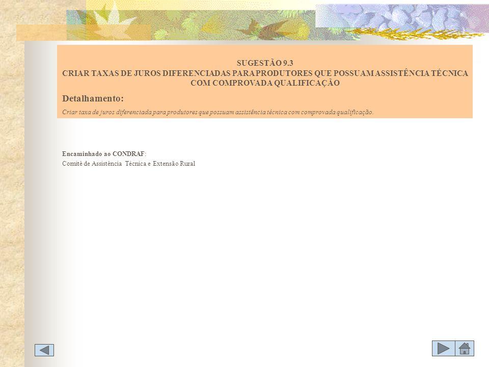 Encaminhado ao CONDRAF: Comitê de Assistência Técnica e Extensão Rural SUGESTÃO 9.3 CRIAR TAXAS DE JUROS DIFERENCIADAS PARA PRODUTORES QUE POSSUAM ASS