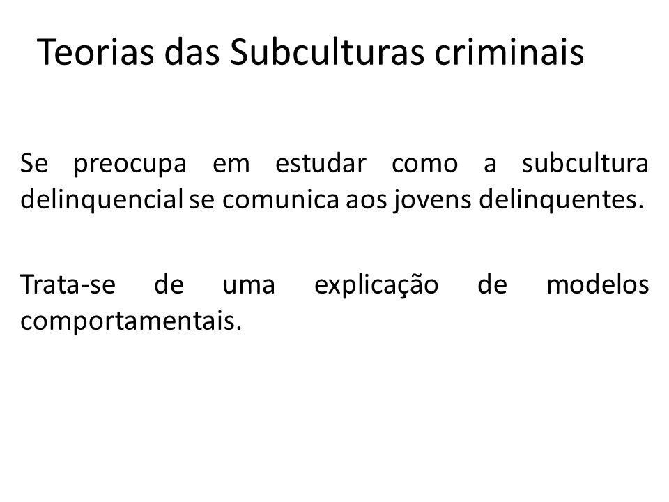 Teorias das Subculturas criminais Se preocupa em estudar como a subcultura delinquencial se comunica aos jovens delinquentes. Trata-se de uma explicaç