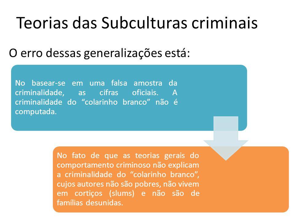 Teorias das Subculturas criminais O erro dessas generalizações está: No basear-se em uma falsa amostra da criminalidade, as cifras oficiais. A crimina