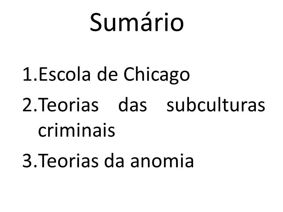 Sumário 1.Escola de Chicago 2.Teorias das subculturas criminais 3.Teorias da anomia