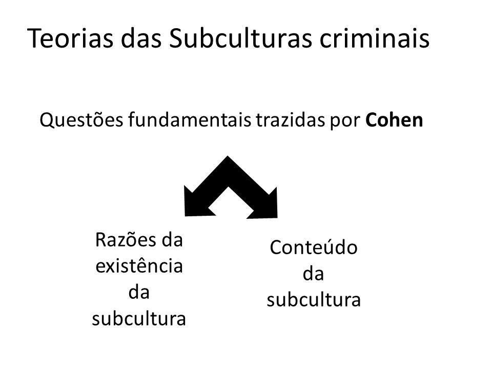 Teorias das Subculturas criminais Questões fundamentais trazidas por Cohen Razões da existência da subcultura Conteúdo da subcultura