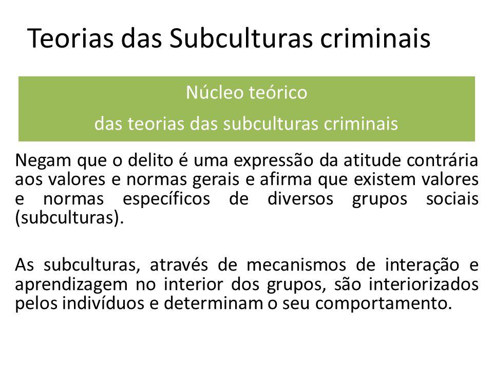 Teorias das Subculturas criminais Negam que o delito é uma expressão da atitude contrária aos valores e normas gerais e afirma que existem valores e normas específicos de diversos grupos sociais (subculturas).