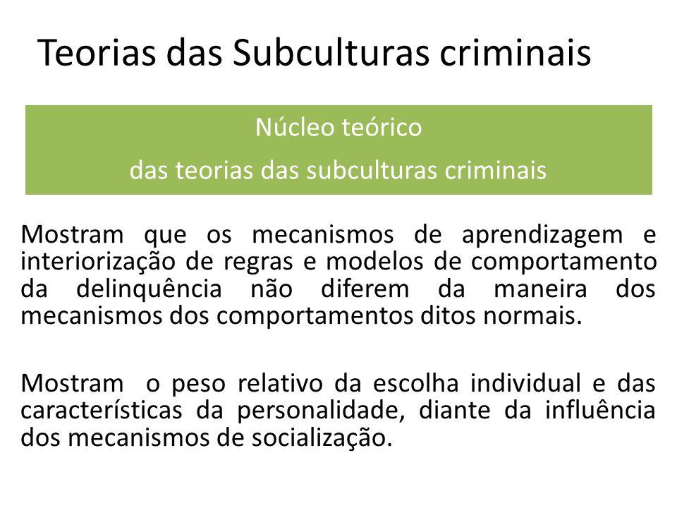 Teorias das Subculturas criminais Mostram que os mecanismos de aprendizagem e interiorização de regras e modelos de comportamento da delinquência não diferem da maneira dos mecanismos dos comportamentos ditos normais.
