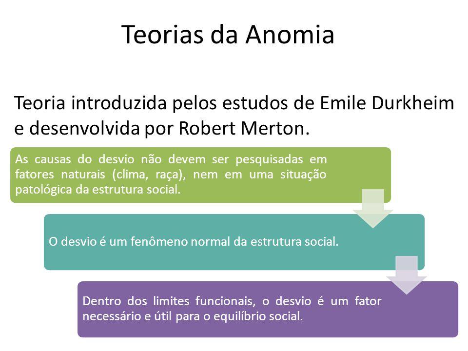 Teorias da Anomia Teoria introduzida pelos estudos de Emile Durkheim e desenvolvida por Robert Merton. As causas do desvio não devem ser pesquisadas e