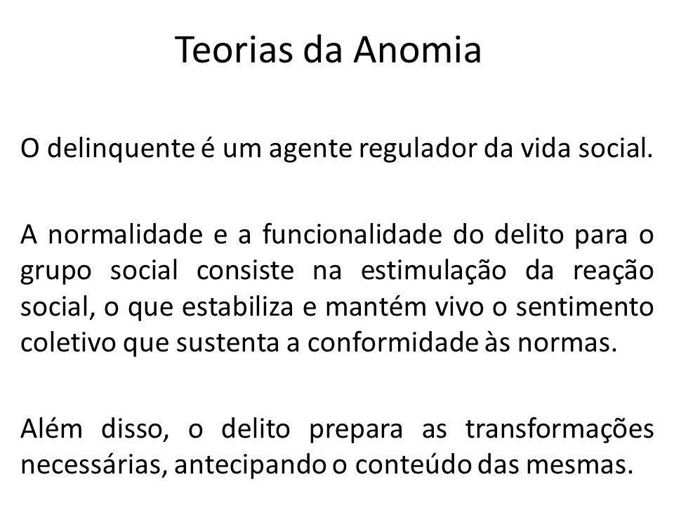 Teorias da Anomia O delinquente é um agente regulador da vida social. A normalidade e a funcionalidade do delito para o grupo social consiste na estim