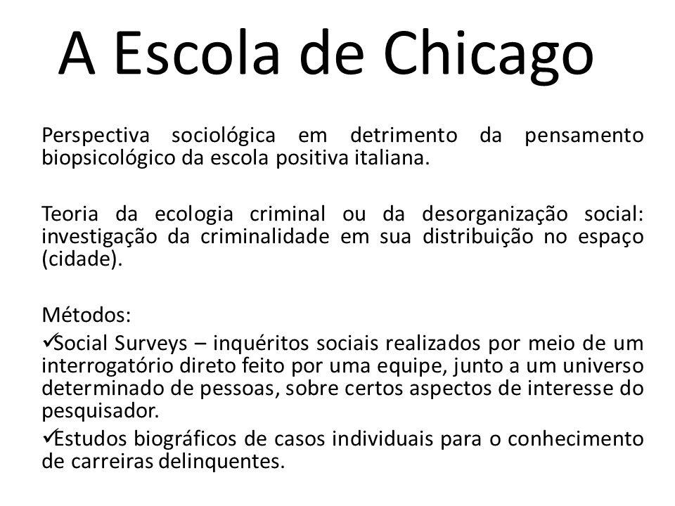 A Escola de Chicago Perspectiva sociológica em detrimento da pensamento biopsicológico da escola positiva italiana. Teoria da ecologia criminal ou da