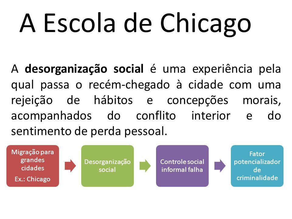 A Escola de Chicago A desorganização social é uma experiência pela qual passa o recém-chegado à cidade com uma rejeição de hábitos e concepções morais, acompanhados do conflito interior e do sentimento de perda pessoal.