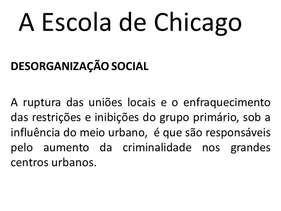 A Escola de Chicago DESORGANIZAÇÃO SOCIAL A ruptura das uniões locais e o enfraquecimento das restrições e inibições do grupo primário, sob a influência do meio urbano, é que são responsáveis pelo aumento da criminalidade nos grandes centros urbanos.
