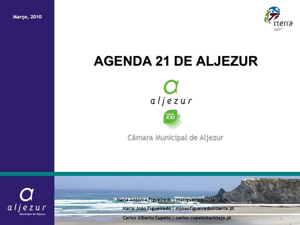 Agenda 21 de Aljezur AGENDA 21 DE ALJEZUR Maria Antónia Figueiredo | mafigueiredo@tterra.pt Câmara Municipal de Aljezur Março, 2010 Carlos Alberto Cup