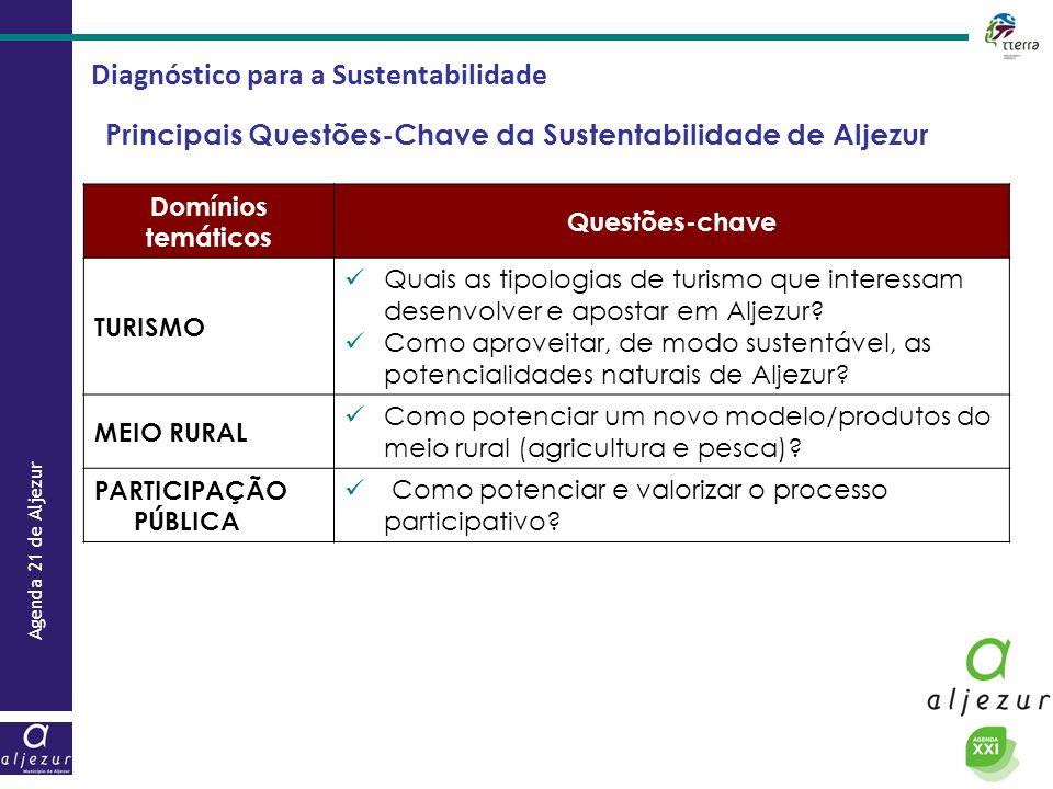 Agenda 21 de Aljezur Diagnóstico para a Sustentabilidade Principais Questões-Chave da Sustentabilidade de Aljezur Domínios temáticos Questões-chave TU