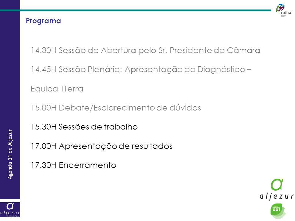 Agenda 21 de Aljezur Programa 14.30H Sessão de Abertura pelo Sr. Presidente da Câmara 14.45H Sessão Plenária: Apresentação do Diagnóstico – Equipa TTe