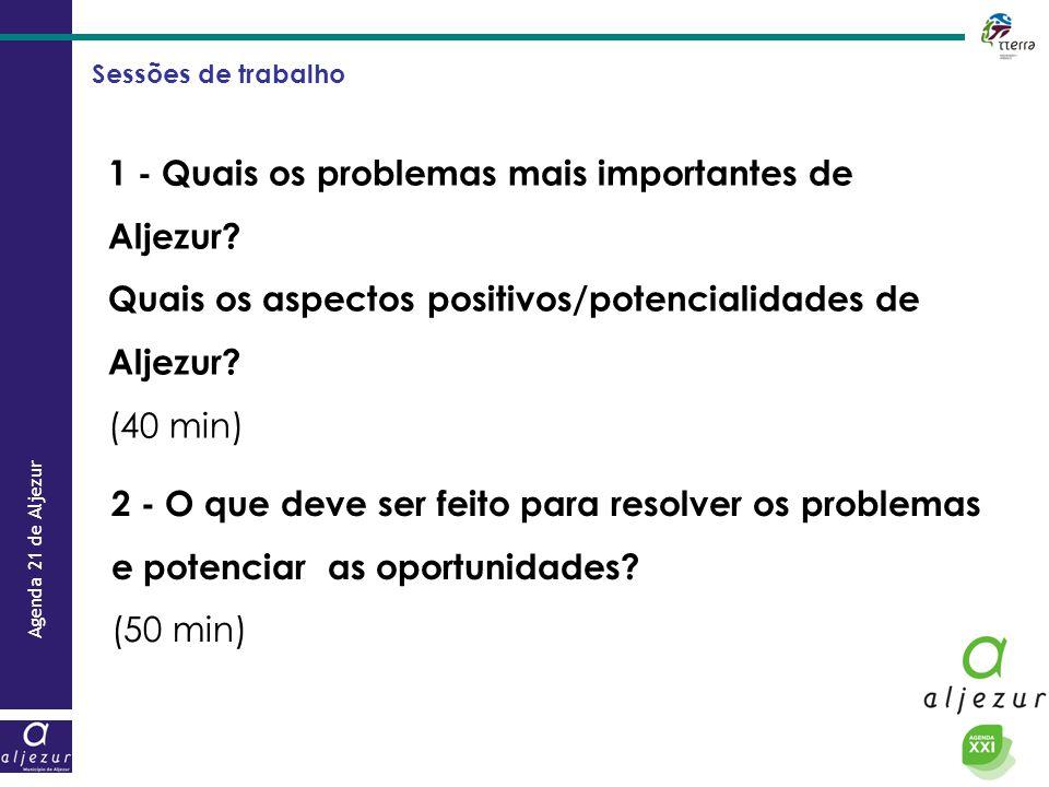 Agenda 21 de Aljezur Sessões de trabalho 1 - Quais os problemas mais importantes de Aljezur? Quais os aspectos positivos/potencialidades de Aljezur? (