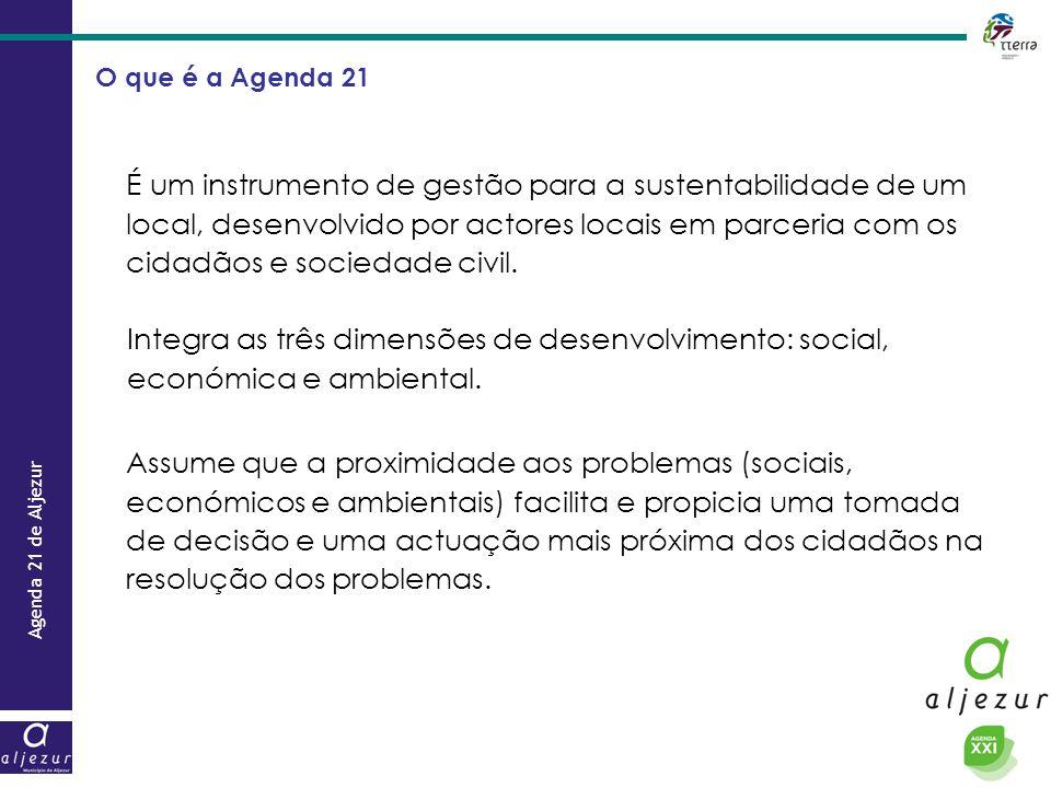 Agenda 21 de Aljezur O que é a Agenda 21 É um instrumento de gestão para a sustentabilidade de um local, desenvolvido por actores locais em parceria c
