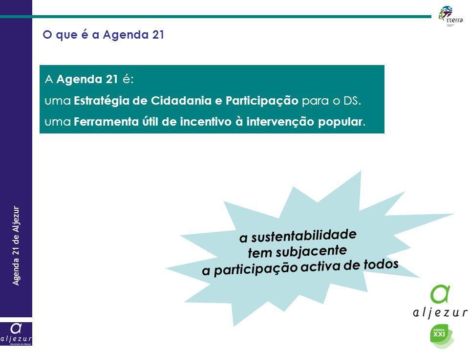 Agenda 21 de Aljezur A Agenda 21 é: uma Estratégia de Cidadania e Participação para o DS. uma Ferramenta útil de incentivo à intervenção popular. a su