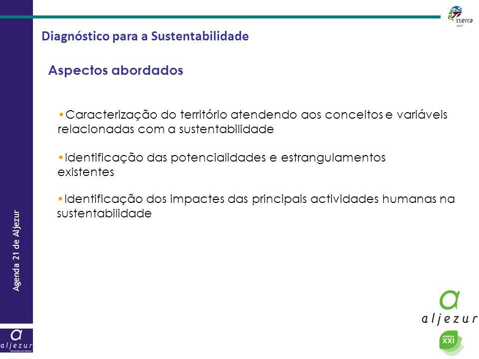 Agenda 21 de Aljezur Diagnóstico para a Sustentabilidade Estrutura Dois documentos: Relatório + Painel de Indicadores Relatório : diagnóstico da situação de referência.