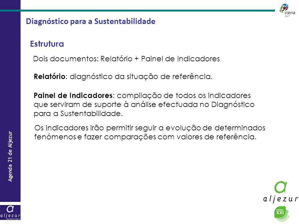 Agenda 21 de Aljezur Diagnóstico para a Sustentabilidade Estrutura Dois documentos: Relatório + Painel de Indicadores Relatório : diagnóstico da situa