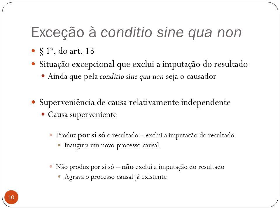 Exceção à conditio sine qua non 10  § 1º, do art. 13  Situação excepcional que exclui a imputação do resultado  Ainda que pela conditio sine qua no