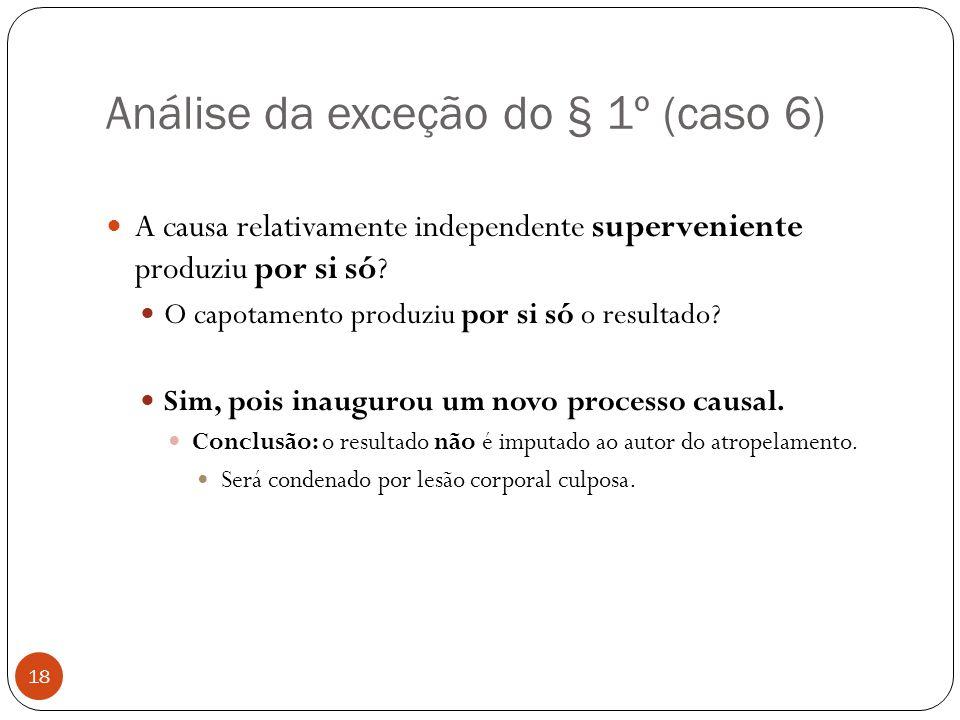 Análise da exceção do § 1º (caso 6) 18  A causa relativamente independente superveniente produziu por si só?  O capotamento produziu por si só o res