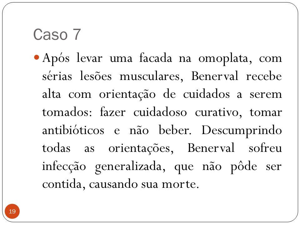 Caso 7 19  Após levar uma facada na omoplata, com sérias lesões musculares, Benerval recebe alta com orientação de cuidados a serem tomados: fazer cu
