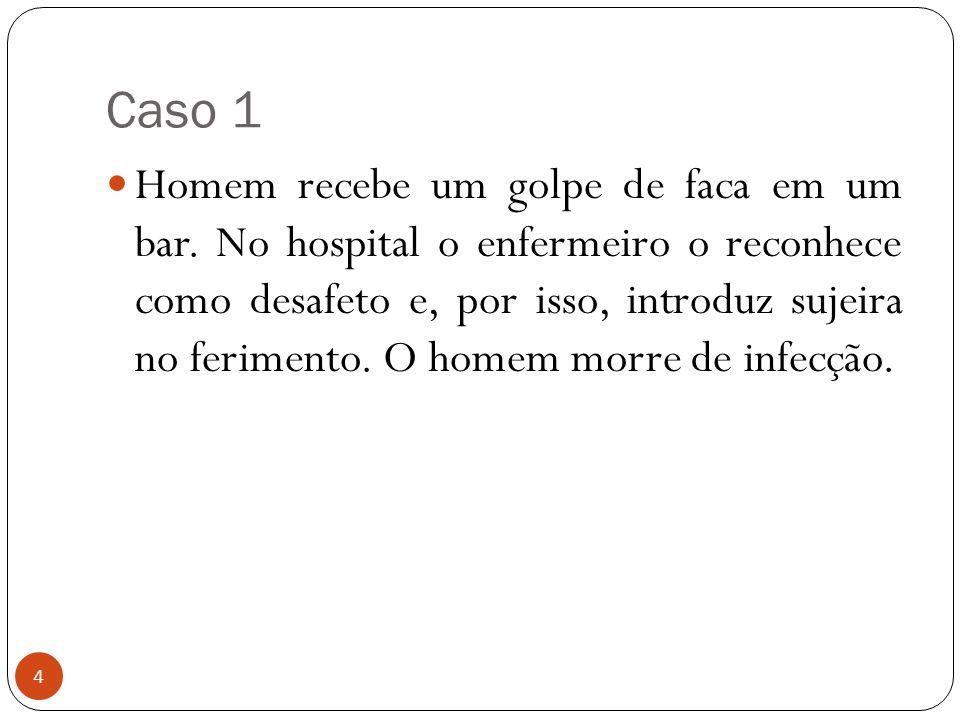 Caso 1 4  Homem recebe um golpe de faca em um bar. No hospital o enfermeiro o reconhece como desafeto e, por isso, introduz sujeira no ferimento. O h