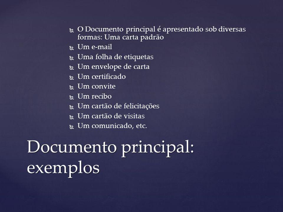  O Documento principal é apresentado sob diversas formas: Uma carta padrão  Um e-mail  Uma folha de etiquetas  Um envelope de carta  Um certifica