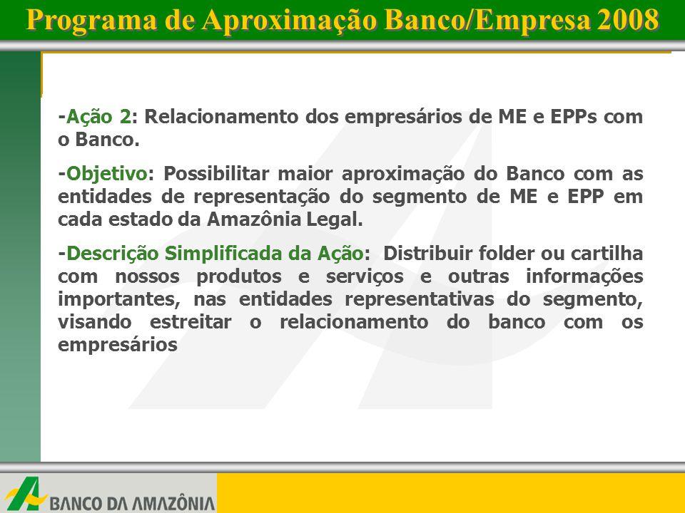 www.bancoamazonia.com.brwww.bancoamazonia.com.br 2 -Ação 2: Relacionamento dos empresários de ME e EPPs com o Banco. -Objetivo: Possibilitar maior apr