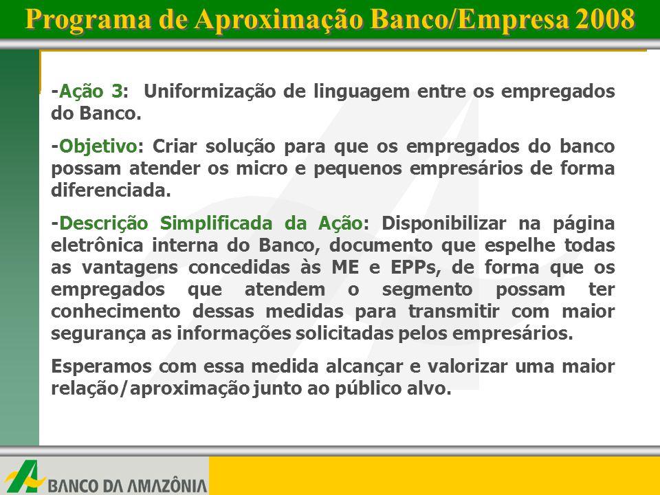 www.bancoamazonia.com.brwww.bancoamazonia.com.br 4 -Ação 4: Parceria Sebrae e Banco da Amazônia – Comitê Gestor -Objetivo: Debater diretrizes e ações que visem a ampliação do atendimento do Banco da Amazônia junto às ME e EPPs, permitindo assim maior acesso ao crédito e demais serviços do Banco.