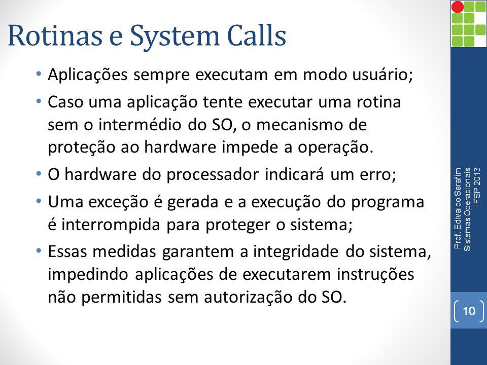 Rotinas e System Calls • Aplicações sempre executam em modo usuário; • Caso uma aplicação tente executar uma rotina sem o intermédio do SO, o mecanism