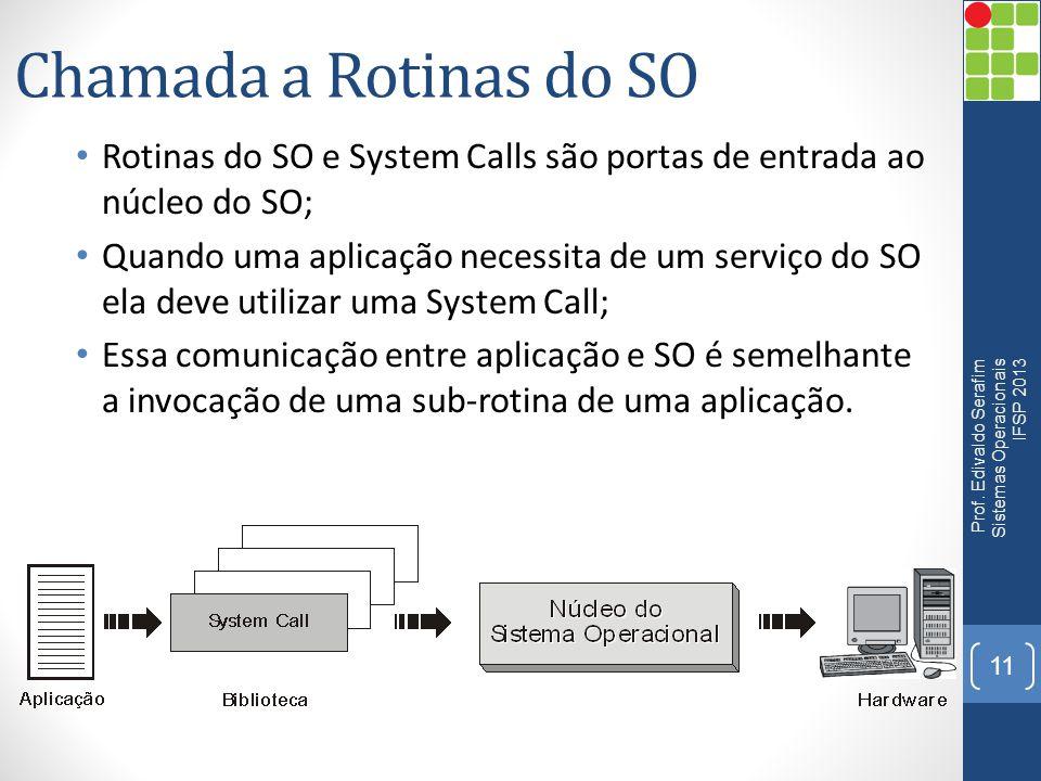 Chamada a Rotinas do SO • Rotinas do SO e System Calls são portas de entrada ao núcleo do SO; • Quando uma aplicação necessita de um serviço do SO ela