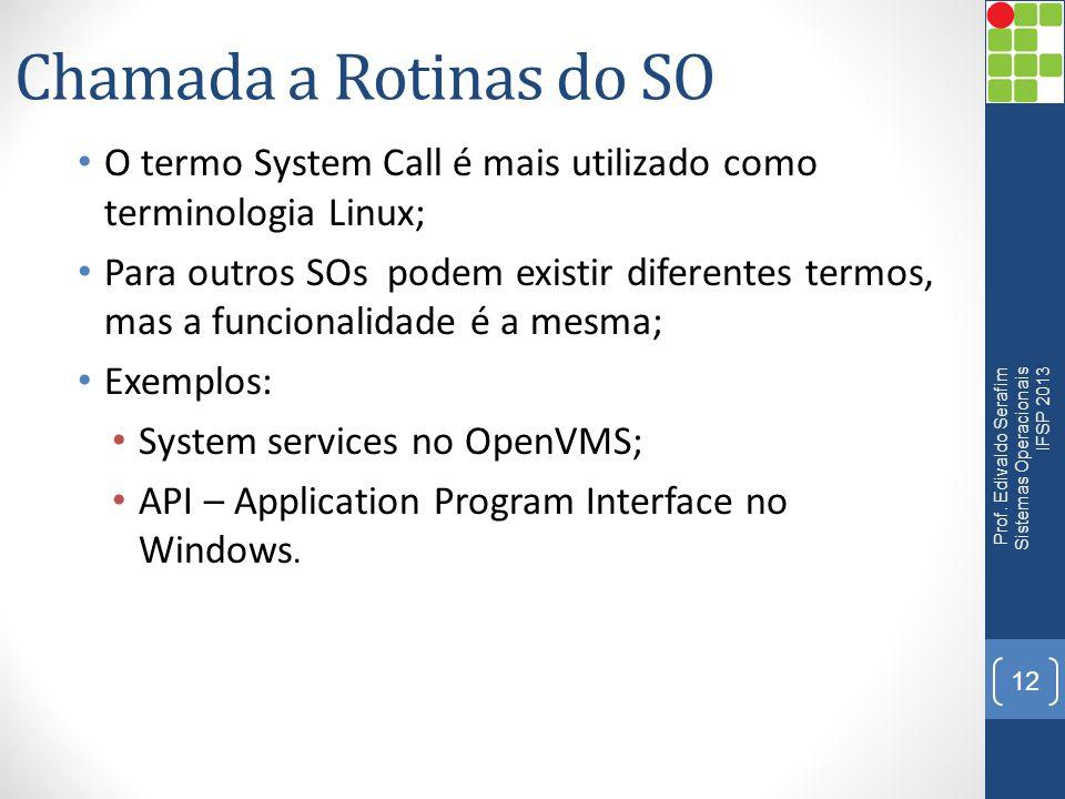 Chamada a Rotinas do SO • O termo System Call é mais utilizado como terminologia Linux; • Para outros SOs podem existir diferentes termos, mas a funci