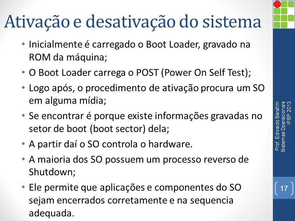 Ativação e desativação do sistema • Inicialmente é carregado o Boot Loader, gravado na ROM da máquina; • O Boot Loader carrega o POST (Power On Self T