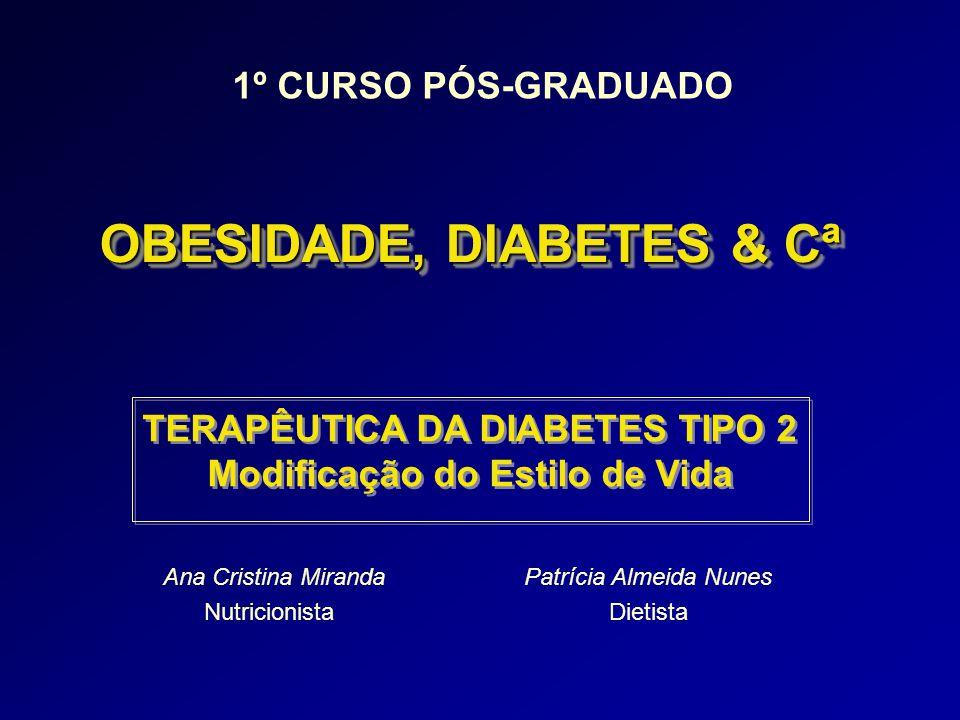 Ana Cristina Miranda Nutricionista TERAPÊUTICA DA DIABETES TIPO 2 Modificação do Estilo de Vida TERAPÊUTICA DA DIABETES TIPO 2 Modificação do Estilo d