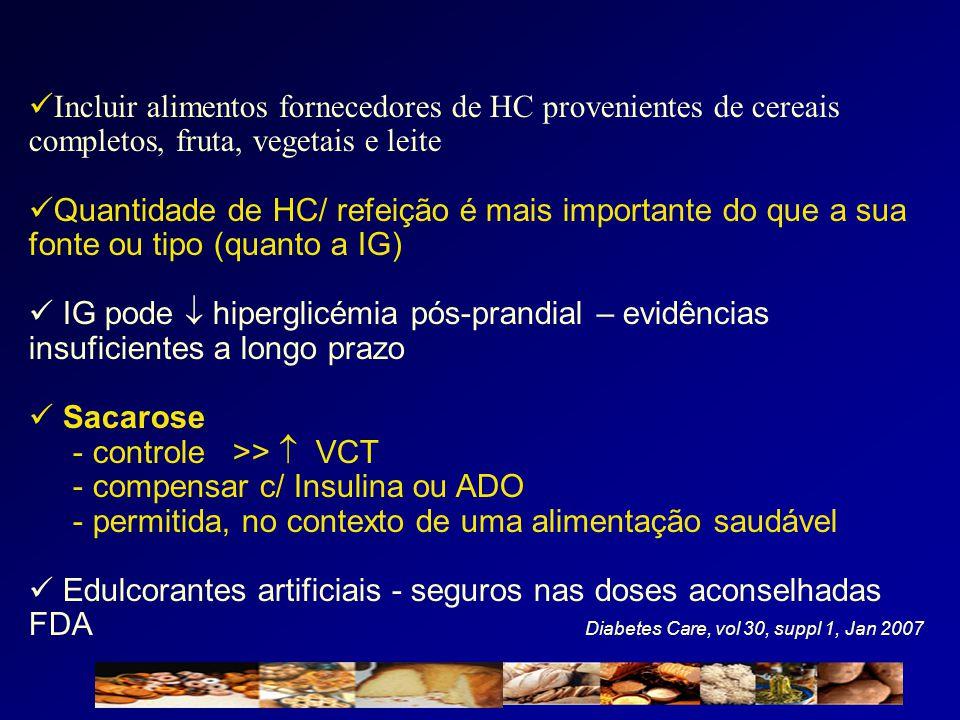  Incluir alimentos fornecedores de HC provenientes de cereais completos, fruta, vegetais e leite  Quantidade de HC/ refeição é mais importante do qu