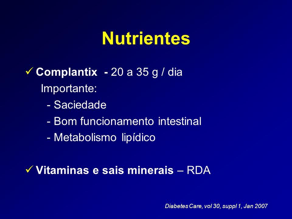 Nutrientes  Complantix - 20 a 35 g / dia Importante: - Saciedade - Bom funcionamento intestinal - Metabolismo lipídico  Vitaminas e sais minerais –