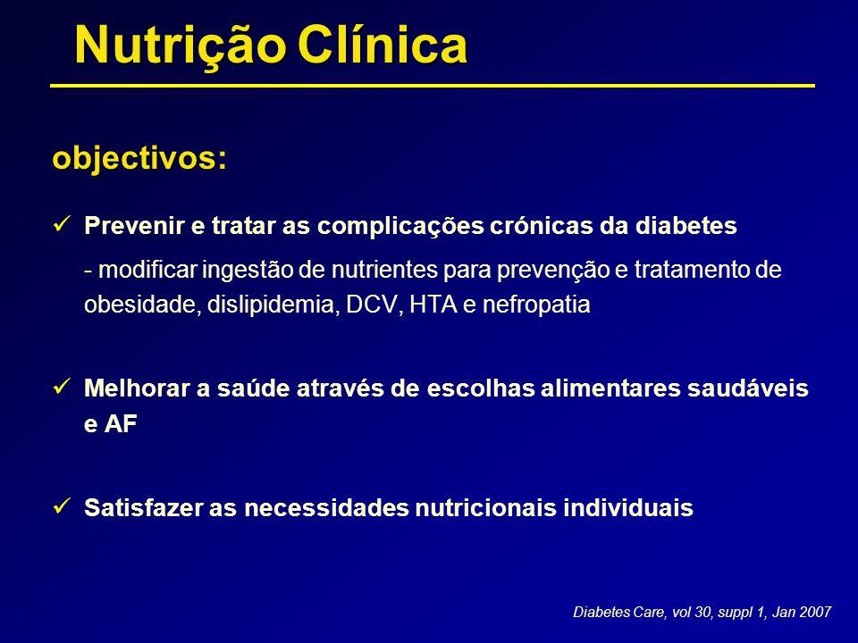 objectivos objectivos:  Prevenir e tratar as complicações crónicas da diabetes - modificar ingestão de nutrientes para prevenção e tratamento de obes