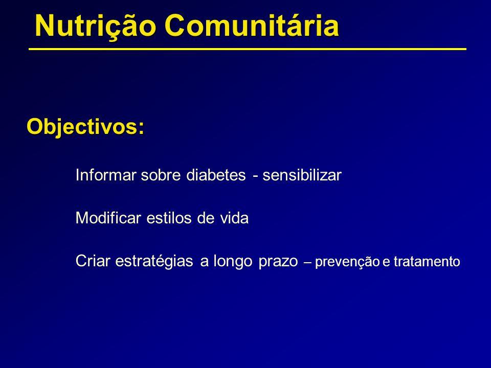 Objectivos: Informar sobre diabetes - sensibilizar Modificar estilos de vida Criar estratégias a longo prazo – prevenção e tratamento Nutrição Comunit