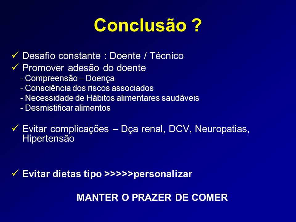Conclusão ?  Desafio constante : Doente / Técnico  Promover adesão do doente - Compreensão – Doença - Consciência dos riscos associados - Necessidad