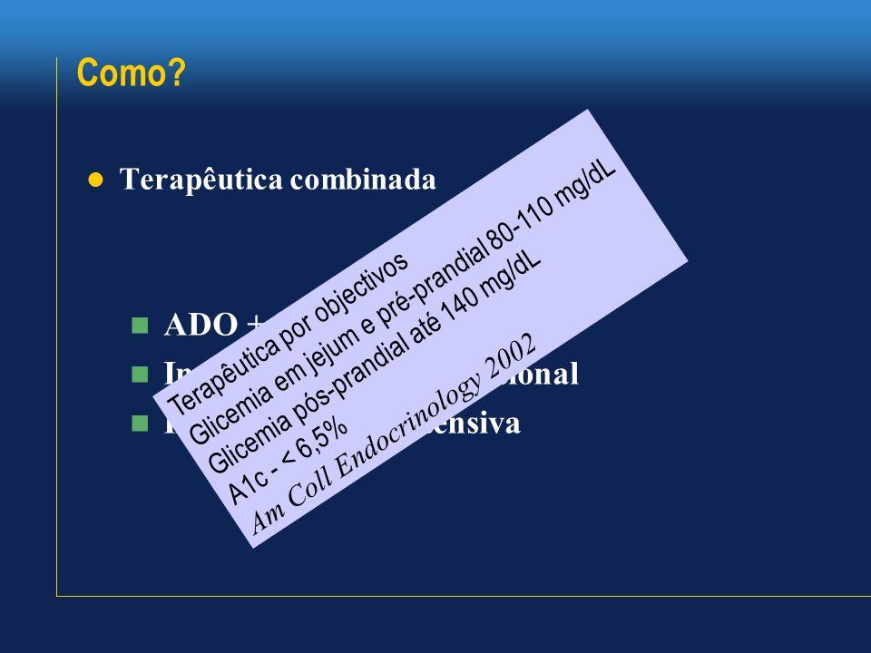Como?  Terapêutica combinada  ADO + insulina  Insulinoterapia convencional  Insulinoterapia intensiva Terapêutica por objectivos Glicemia em jejum