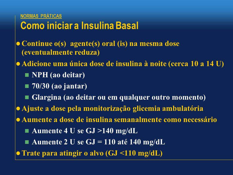 NORMAS PRÁTICAS Como iniciar a Insulina Basal  Continue o(s) agente(s) oral (is) na mesma dose (eventualmente reduza)  Adicione uma única dose de insulina à noite (cerca 10 a 14 U)  NPH (ao deitar)  70/30 (ao jantar)  Glargina (ao deitar ou em qualquer outro momento)  Ajuste a dose pela monitorização glicemia ambulatória  Aumente a dose de insulina semanalmente como necessário  Aumente 4 U se GJ >140 mg/dL  Aumente 2 U se GJ = 110 até 140 mg/dL  Trate para atingir o alvo (GJ <110 mg/dL)