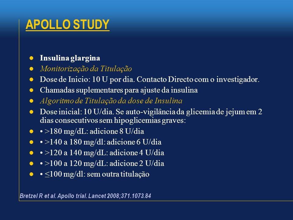 APOLLO STUDY  Insulina glargina  Monitorização da Titulação  Dose de Inicio: 10 U por dia. Contacto Directo com o investigador.  Chamadas suplemen
