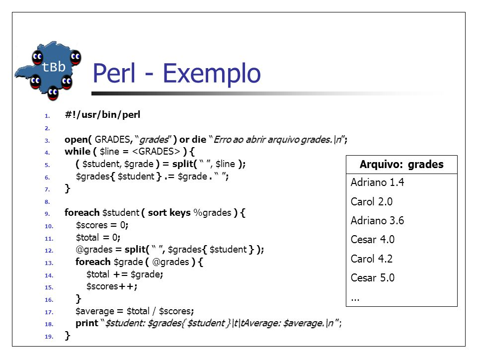 "Perl - Exemplo 1. #!/usr/bin/perl 2. ""grades""""Erro ao abrir arquivo grades.\n"" 3. open( GRADES, ""grades"" ) or die ""Erro ao abrir arquivo grades.\n""; 4"