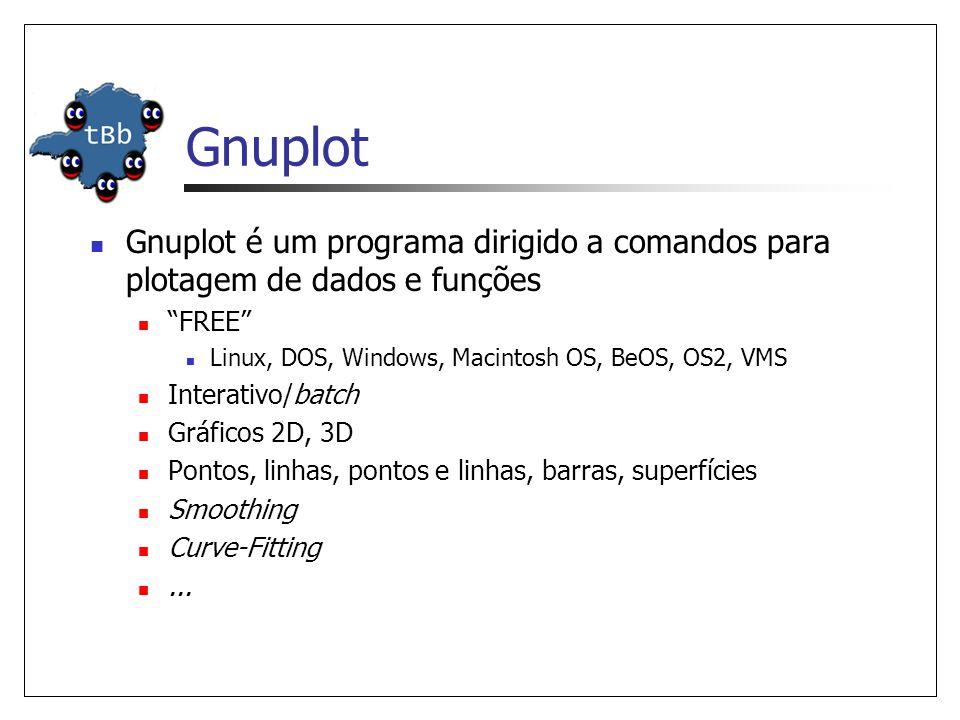 Gnuplot  Gnuplot é um programa dirigido a comandos para plotagem de dados e funções  FREE  Linux, DOS, Windows, Macintosh OS, BeOS, OS2, VMS  Interativo/batch  Gráficos 2D, 3D  Pontos, linhas, pontos e linhas, barras, superfícies  Smoothing  Curve-Fitting ...