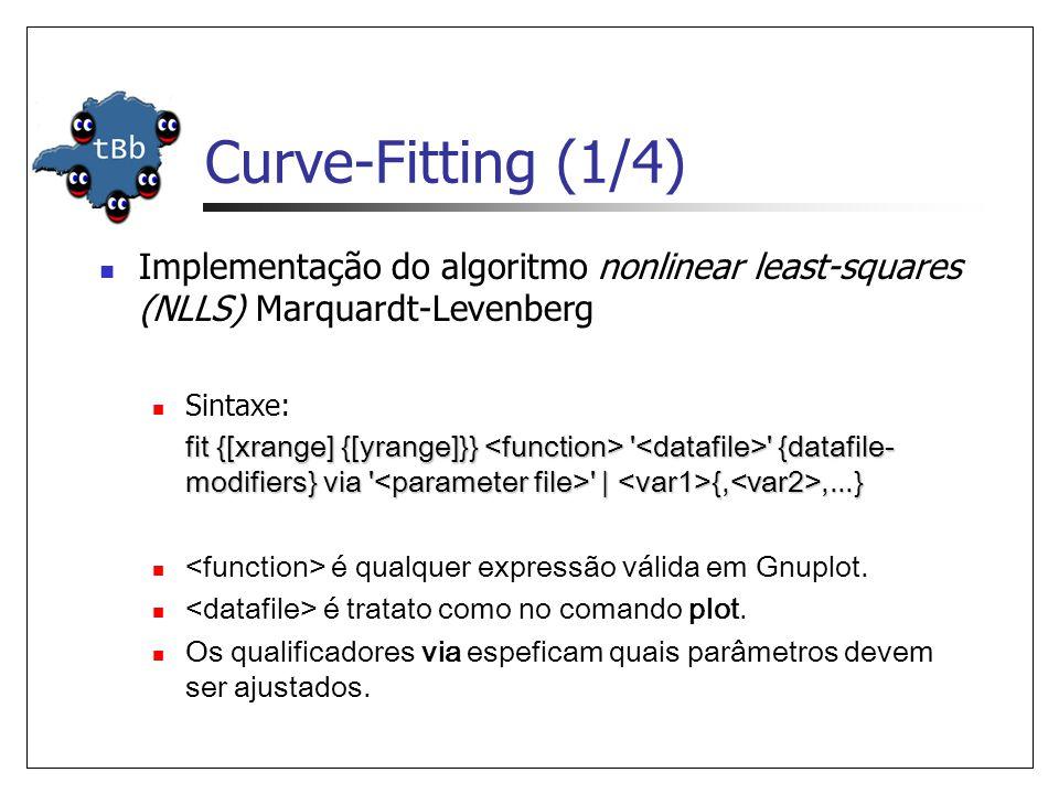 Curve-Fitting (1/4)  Implementação do algoritmo nonlinear least-squares (NLLS) Marquardt-Levenberg  Sintaxe: fit {[xrange] {[yrange]}} {datafile- modifiers} via | {,,...}  é qualquer expressão válida em Gnuplot.