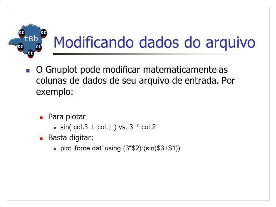 Modificando dados do arquivo  O Gnuplot pode modificar matematicamente as colunas de dados de seu arquivo de entrada. Por exemplo:  Para plotar  si